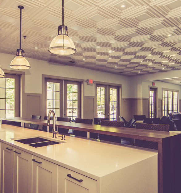 Installed throughout the Hampton Hall Clubhouse in Alpharetta, GA, are Decorative Ceiling Tiles Schoolhouse Faux Tin Ceiling Tiles.