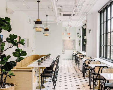 Custom concrete flooring can look any way you'd like. Many colors, patterns, designs. Concrete Collaborative provided the flooring as seen here at this restaurant.