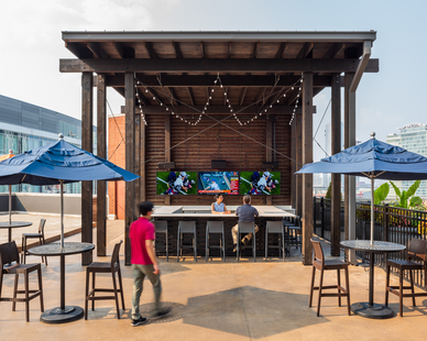 The rooftop bar and patio was designed by Archuity.
