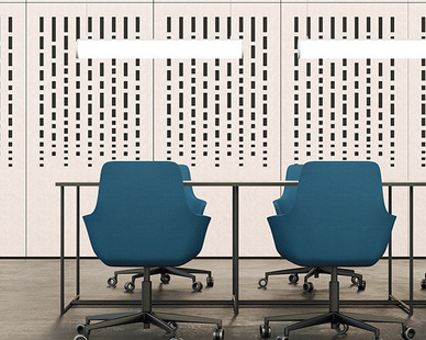 The Mur Mounted Acoustic Wall Panel is available in 20 different design patterns. Shown here in the Rainfall design, this mounted panel provides sound blocking properties to the office meeting room.