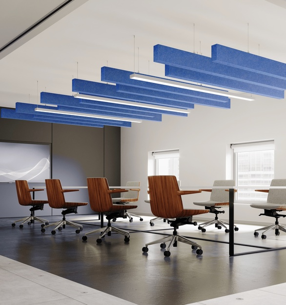 The Joist Acoustic Ceiling Baffles are available in 20 different colors and 3 woodgrain print options: Dark Walnut, Birch Bark and Ash.