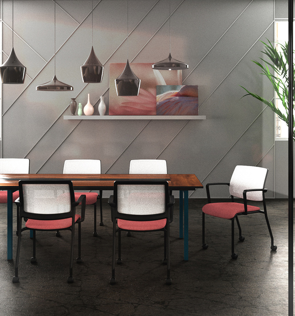 Clary can be customized to work in any environment thanks to a broad selection of mesh types and 24 colors that are bleach cleanable along with thousands of textile options. Choose with arms or without, pick silver or black frame colors and add glides or casters to finish the look.
