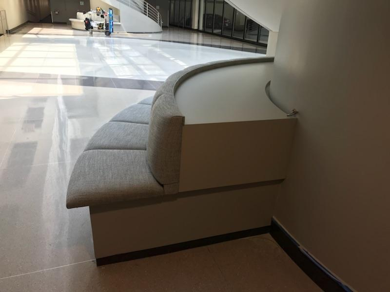 Custom booth seating provided by Contract Industries at 814 Commerce Parkway in Oak Brook, Illinois.