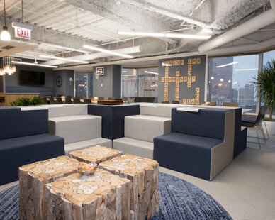 One of the amenities of this office space is perfectly curated custom booth seating.