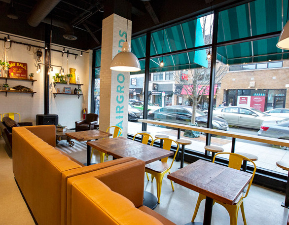 Booth seating customized and installed by Contract Industries can be seen in the Wicker Park location of Fairground Coffee and Tea.