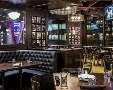 Contract Industries custom manufacturers all their boothing at their own facility. The tufted, U-Shaped Booth Seating was installed at the Harry Caray's 7th Inning Stretch in Chicago, IL.
