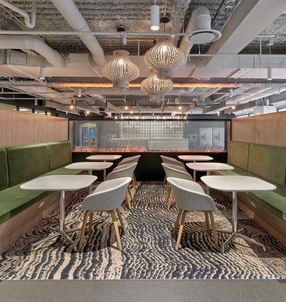 Beautiful booth seating was manufactured and installed by Contract Industries for Loft 18 in Chicago, IL.