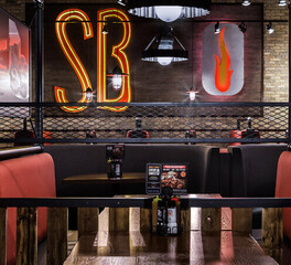 contract industries smokey bones bar and fire grill booth seating