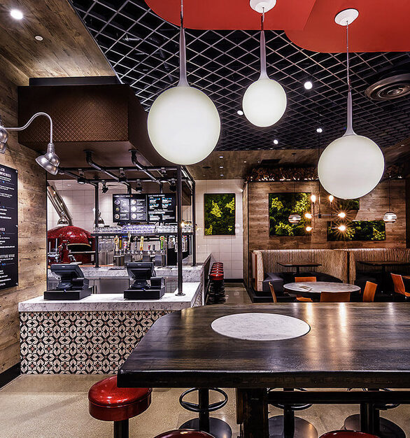 Stix and Stones in Burr Ridge, IL is a more informal restaurant where you order yourself and choose a seat. Contract Industries provided a comfortable and custom booth seating design.