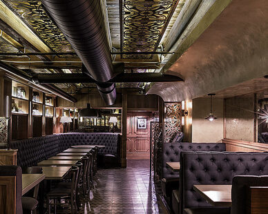 Contract Industries design and installed the custom booth seating found throughout the speakeasy, The Franklin Room in Chicago, IL.