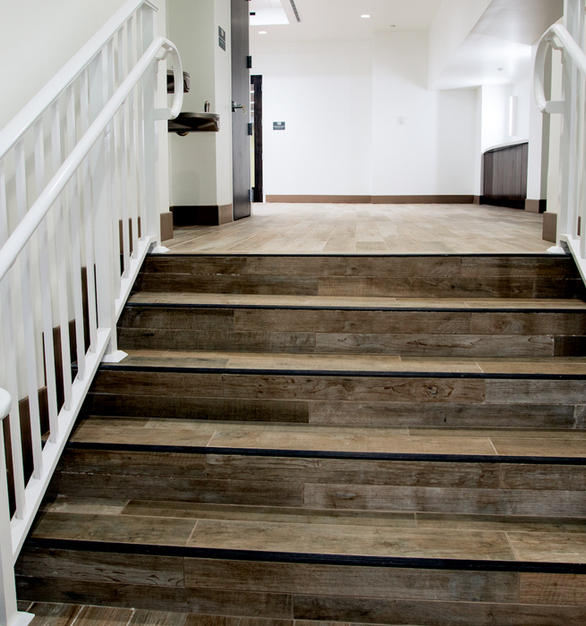 In addition, SpeakEasy by Crossville provides the warm look of hardwood in a durable, long-wearing porcelain tile package that will withstand whatever Coral Gables seniors throw its way.