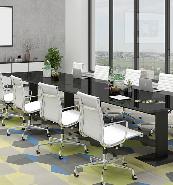 coronaVISUAL's Glass Table Tops are frameless glass panels. They are available in three glass styles: Basic (green tint), Classic (Starphire-pure white) or Satin (Starphire, non-glare). And as with all Glassboards, they are available in almost any color and custom graphics are also applicable.