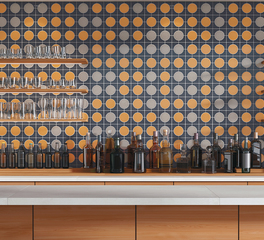 Crossville Cursive bar backsplash