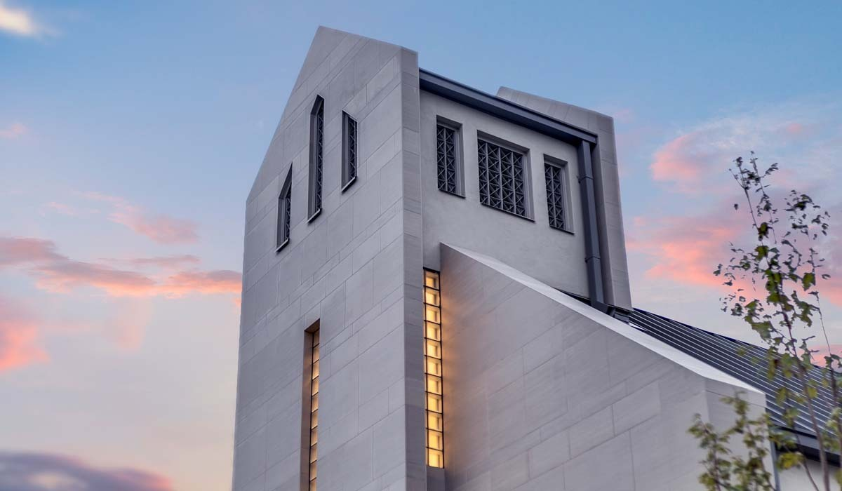 "To help create a church that references the past while embracing a current, contemporary design, the team selected Crossville's Shades porcelain stone collection for the exterior cladding of the new facility. The 12"" x 24"" tiles are installed in a horizontal pattern giving the illusion of an elongated space on the property."