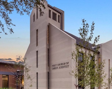 """To help create a church that references the past while embracing a current, contemporary design, the team selected Crossville's Shades porcelain stone collection for the exterior cladding of the new facility. The 12"""" x 24"""" tiles are installed in a horizontal pattern giving the illusion of an elongated space on the property."""