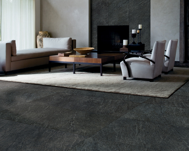 Crossville's In-Side Series of porcelain tile panels is a Deep-blue grey sandstone mined only in the Apuan Alps in Italy.