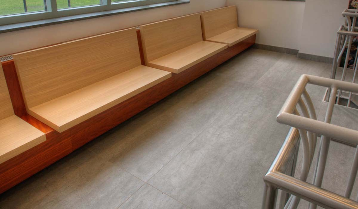 Decision makers with the university selected Booth Hansen Architects, the firm that originally designed the facility, to update these all-important entry areas. Inhabit Interiors was retained for interior design. Northwestern now requires that all new buildings on campus be LEED-certified, and although this was not a new build, sustainability was a top priority for the renovation.
