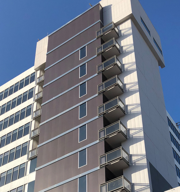 Crossville's gauged porcelain tile panels were chosen to skin the exterior of the Santa Monica Medical Plaza.