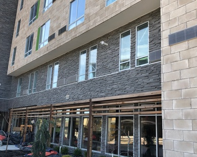 Cultured Stone's Pro-Fit Modera Ledgestone is classic contemporary. Seen here in the color, Carbon.