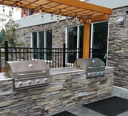 Cultured Stone Home2Suites outdoor patio