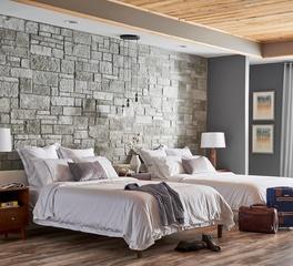 cultured stone hotel room design stone wall treatment