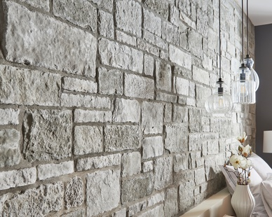 Sculpted Ashlar in silver shore by Cultured Stone is the modern touch on classic charm.