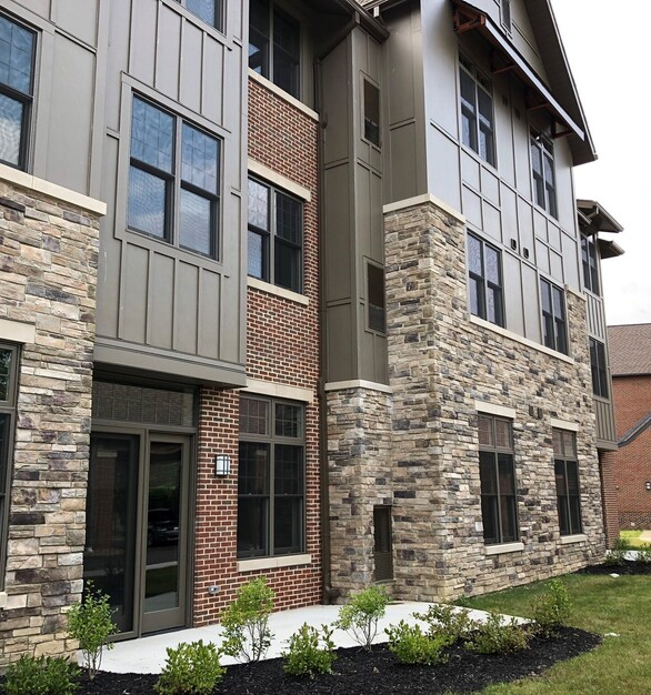 Beautiful exterior showcases what mixed materials for exterior can really achieve for a building.