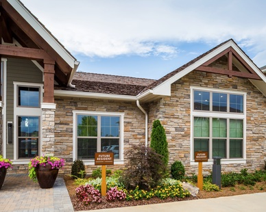 This luxury apartment complex wouldn't be complete without a matching leasing building to give new tenants a feel for what the apartment complex is like. The exterior is using Culture Stone's Country Ledgestone in Aspen.