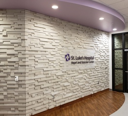 cultured stone st lukes hospital heart and vascular center entrance wall and sign