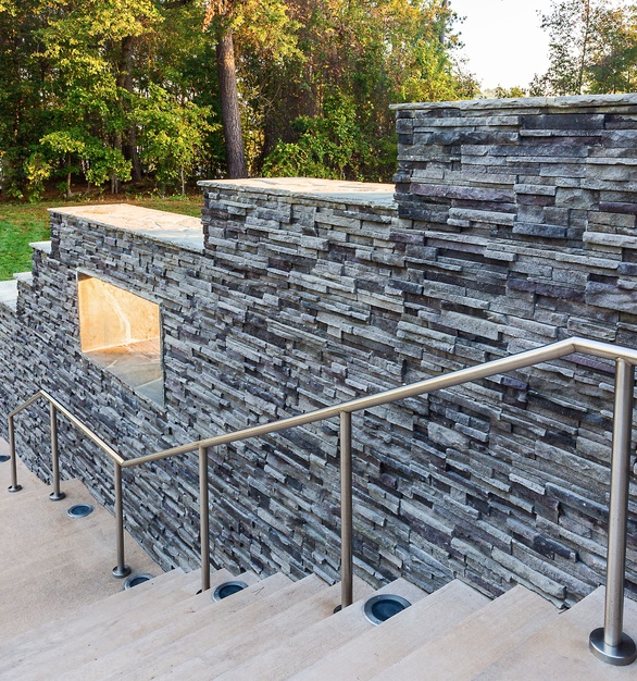 Cultured Stone The Stateview Hotel exterior stairway and railing