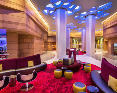 The Potawatomi Hotel offers guests a dynamic lounge area to enjoy, designed by Cuningham Group.