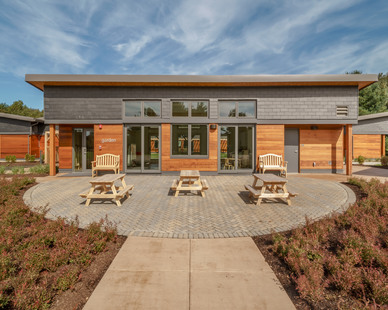 Outdoor spaces give students and teachers flexible and healthy environments to learn and teach. The building finishes showcase the school's sustainable and toxic-free properties.