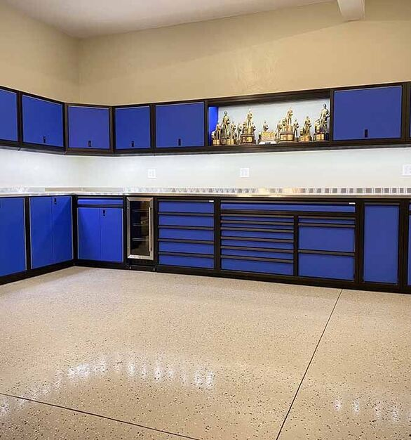 Want a dream storage system and cabinets in your garage or any other space in your house?  Moduline Cabinets in a blue finish and anodized frames is a perfect solution.