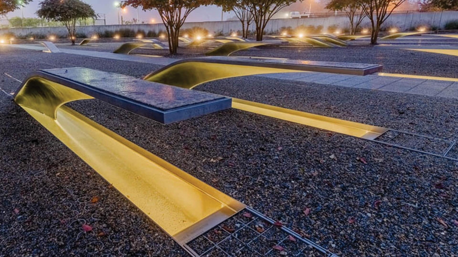 The National 9/11 Pentagon Memorial is a permanent outdoor memorial to the victims of the American Airlines Flight 77 during the 9/11 attacks, located in Arlington, VA featuring lighting products by Acuity Brands - Hydrel®. Project in collaboration with Aaroe Electrical Solutions LLC, Kaseman Beckman Advanced Strategies, and Acuity Brands agent Federated Lighting.   Photographer: Pete Albert