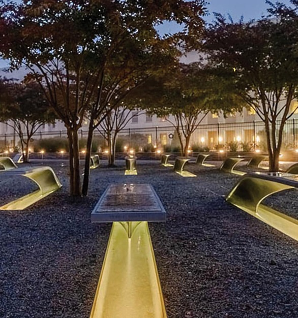 The National 9/11 Pentagon Memorial is a permanent outdoor memorial to the victims of the American Airlines Flight 77 during the 9/11 attacks, located in Arlington, VA featuring lighting products by Acuity Brands - Hydrel®. Project in collaboration with Aaroe Electrical Solutions LLC, Kaseman Beckman Advanced Strategies, and Acuity Brands agent Federated Lighting. 