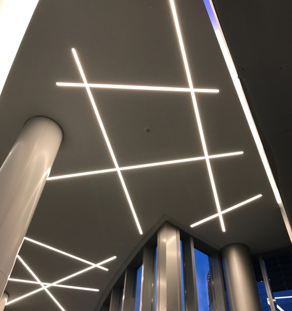 Up close view of the lighting from Dado Lighting in the Capital One HQ building in McLean, Virginia.
