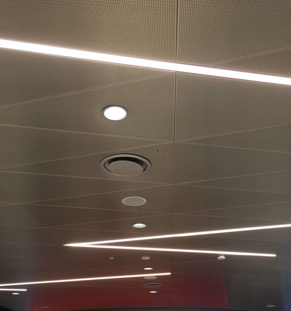 Dado Lighting used their GridLineLED shallow fixtures throughout this office space.