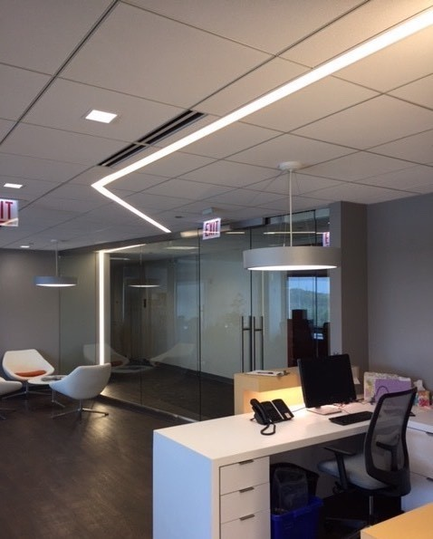 Dado Lighting used their GridLineLED shallow fixtures throughout this office space designed by Whitney Architects.