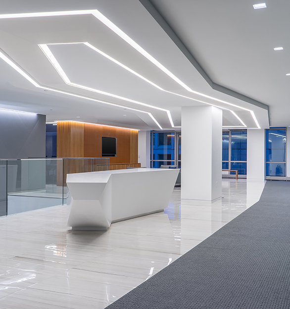 Dado Lighting customized their SimpleLine DeadSide lights to open up this office space in New York, New York.
