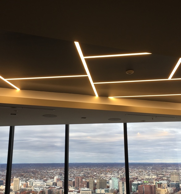 Beautiful Dado Lighting design for this space in Boston, Massachusetts with the space being designed by NELSON.
