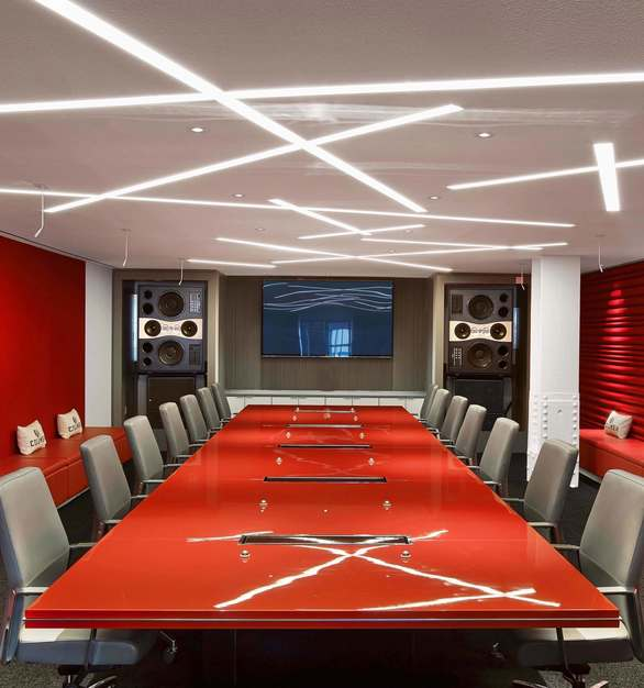 Dado Lighting used their stunning SimpleLineLED product to provide Sony's large conference room with custom lighting.