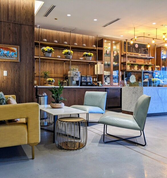 Relax and enjoy a drink and a small treat at the Delmar Hotel's cafe.  Scattered throughout the cafe is some comfy chairs and couches.