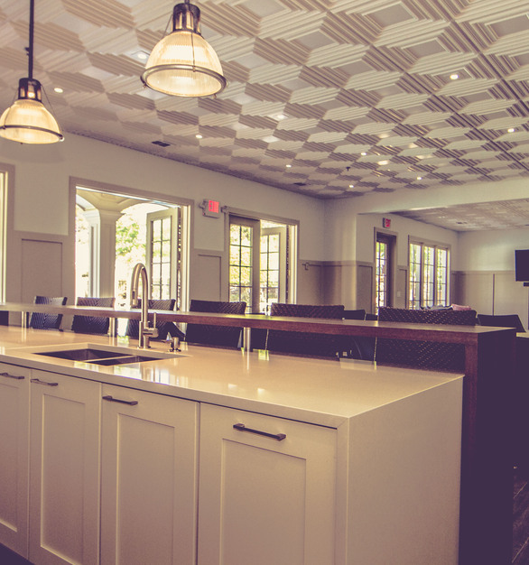 Decorative Ceiling Tiles Schoolhouse Faux Tin Ceiling Tiles were installed throughout the Hampton Hall Clubhouse in Alpharetta, GA.