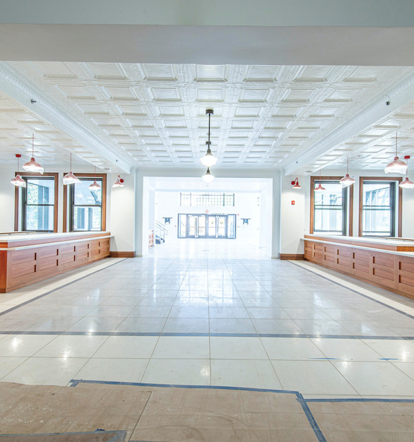 Tin Ceiling Replica tiles by Decorative Ceiling Tile's can be found flowing through the Montclair State University.
