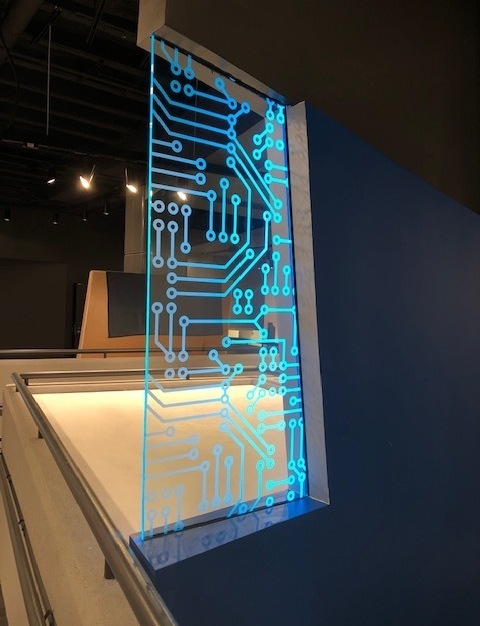 Seen here is another piece of custom glass designed, installed, manufactured by Denver Glass Interiors for the Denver Museum of Nature & Science.