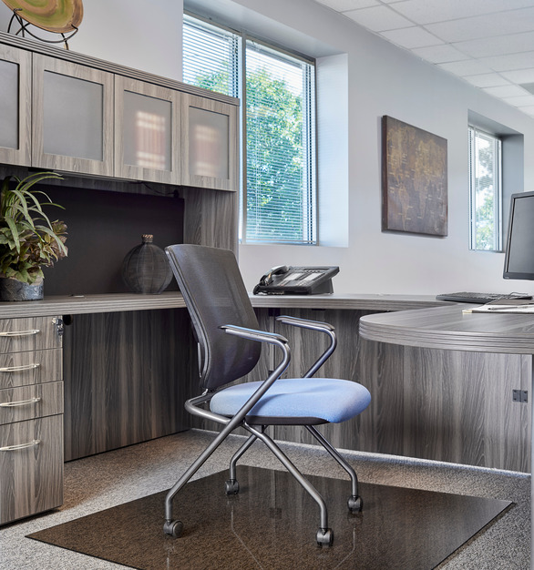 The Moltin glass chair mats you will be able to roll from your desk to the file cabinet and back again without worrying about your desk chair mat shifting underneath, and smooth surfaces help make rolling in your seat feel effortless.