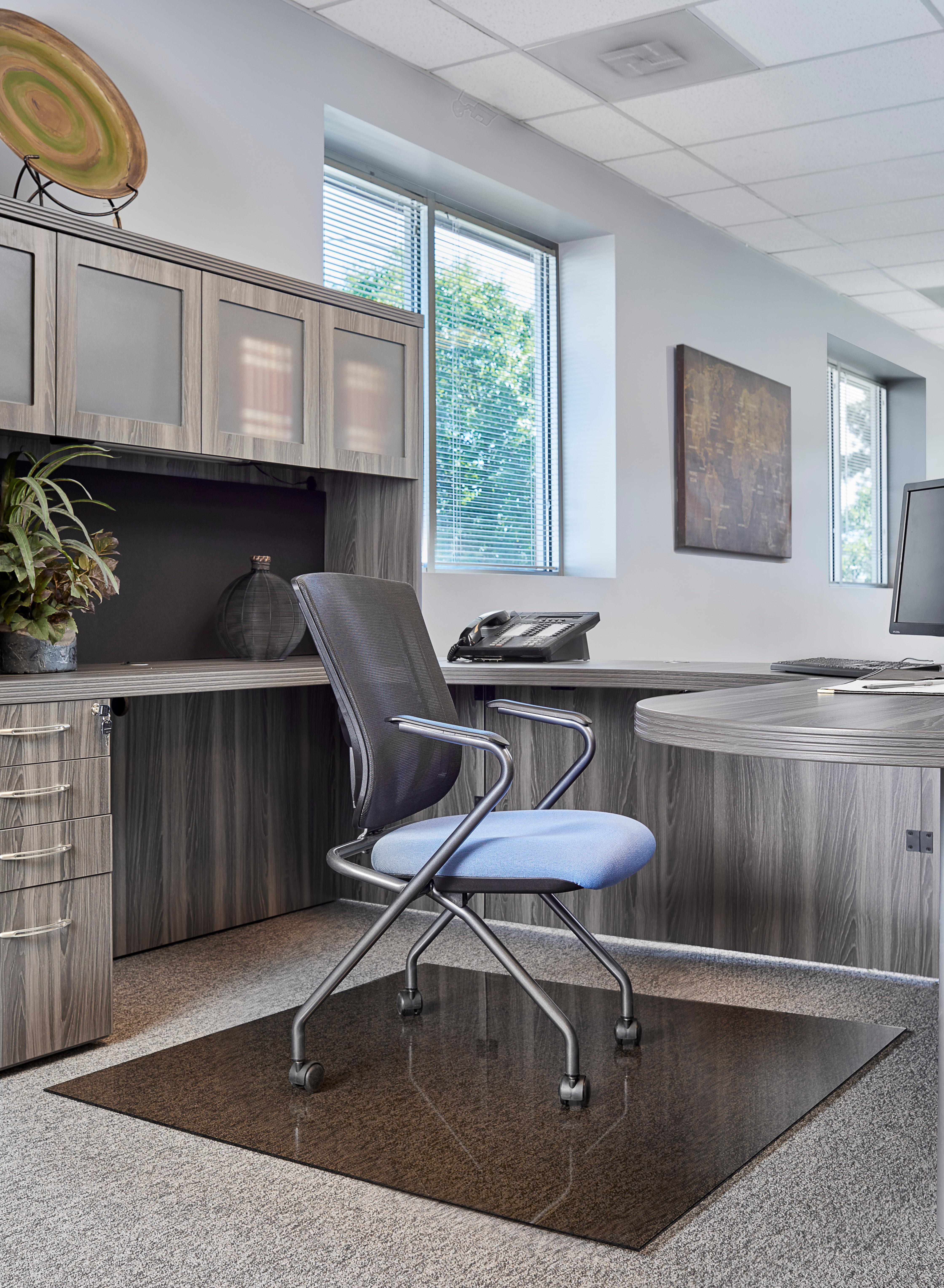Denver Glass Interiors Moltin Glass Chair Mats Grey Tint Private Office