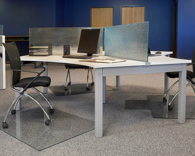 Denver Glass Interior's new product, Moltin Glass Chair Mats come in a variety of colors, sizes, and textures.