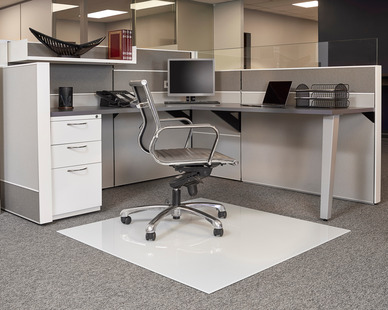 This white, modern Moltin Glass Chair Mat by Denver Glass Interiors is the perfect option for any open workspace.