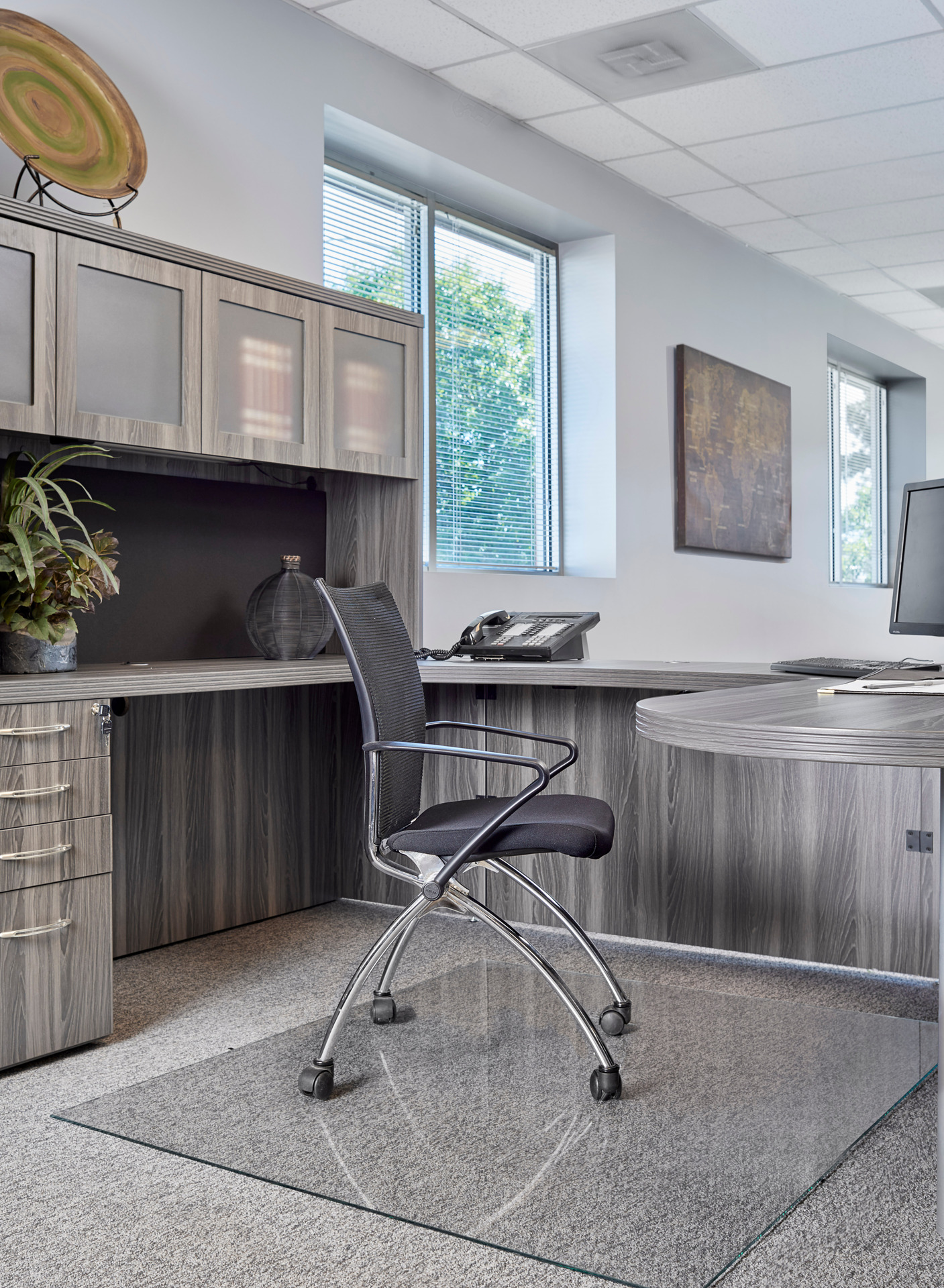 Upscale beauty and easy gliding is how Denver Glass Interiors Moltin Glass Chair Mats is described.